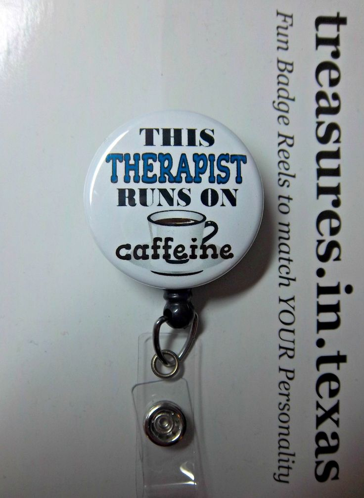 This THERAPIST Runs on Caffeine, White Coffee Cup Blue