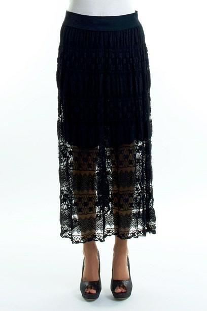 ALVA NEDERDEL - Shear long black, beige, white lace skirt.