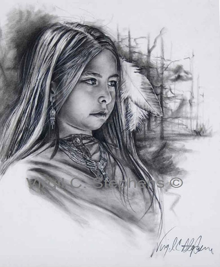 American Indian Women Drawings | Native American little Indian girl drawing. western artwork