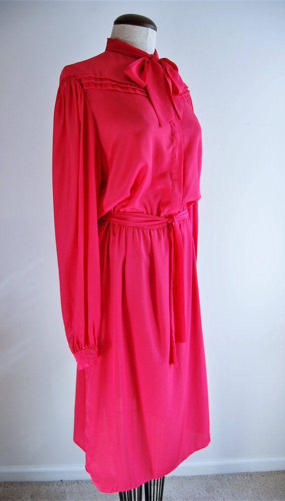 1980s Vintage Dresses Pink Silk 80s Dress Long Sleeve Bow