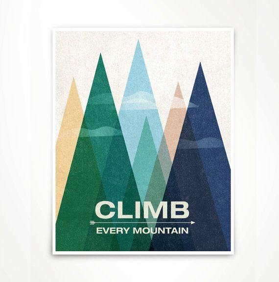 Een moderne en gedurfde art print, voor ontwerp savvy. Elke berg te beklimmen! -Blauwe, sneeuw berg versie. Oorspronkelijke illustratie…