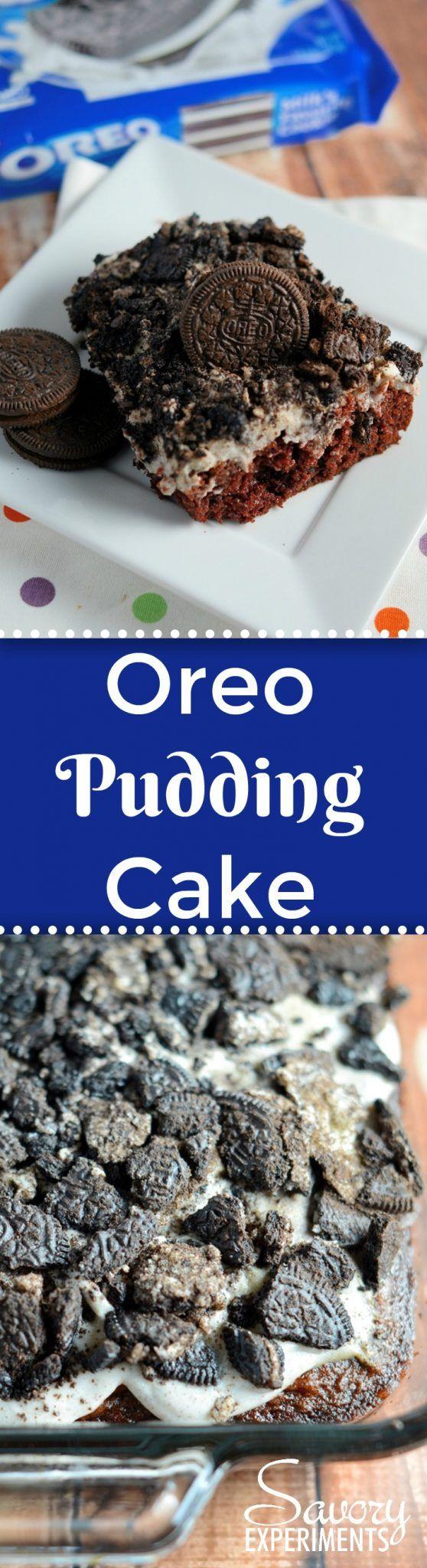 Oreo Pudding Cake is a poke recipe perfect for an easy party dessert. If you like Oreo balls, you'll love this easy cake recipe! #oreocookierecipes #oreopuddingcake #pokecakerecipes www.savoryexperiments.com via @savorycooking