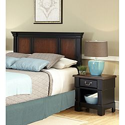The Aspen Collection Rustic Cherry & Black Queen/Full Headboard & Night Stand
