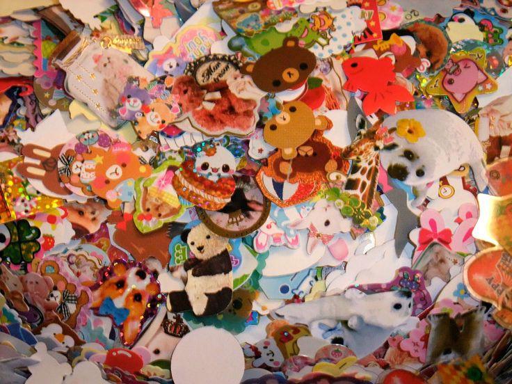 Kawaii Grab Bag - 100 Sticker Flakes +10 Mini Memo, Hello Kitty Rilakkuma Sanrio