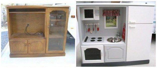 Transformez un vieux meuble télé en une cuisinière de rêve pour les enfants.   19 projets de bricolage qui vont époustoufler vos enfants