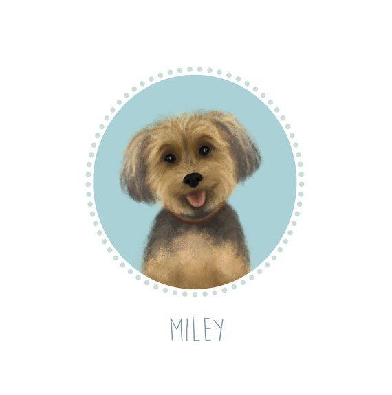 Custom Pet Portrait from photo.Yorkshire commission portrait.Dog Illustration Dog Print Your dog cartoon pet memorial print.Art pet portrait