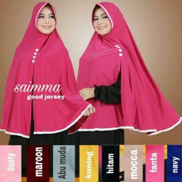 Hijab Syar'i Khimar Saimma Fashion Hijab Lebaran 2017 praktis langsung pakai Dengan bahan jersey zoya, mudah dibentuk ke samping dan tidak mudah kusut.