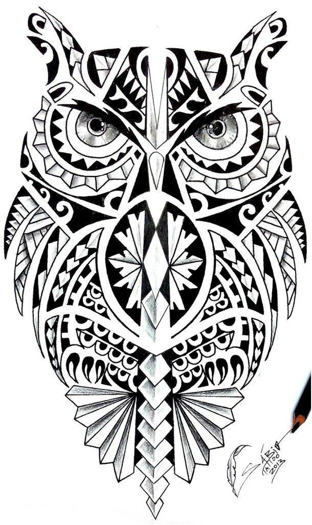Wonderful Coruja Maori Tattoo Design