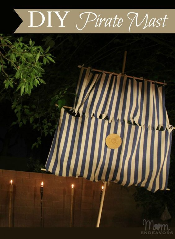 DIY Pirate mast & no-sew sails - big impact for little cost! What a great addition to the pirate theme classroom!
