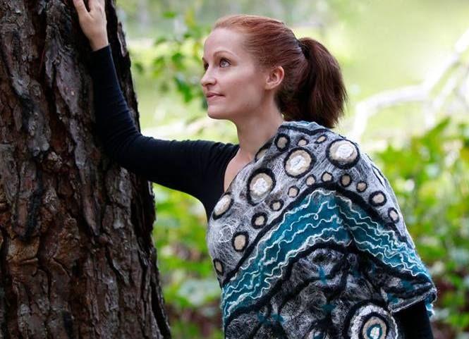 Felt silk and merino wool wrap by Marnie Lee Feltarty
