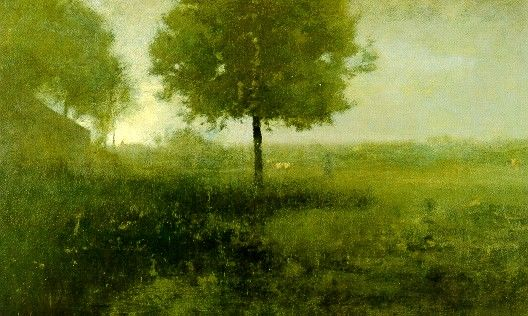 """GEORGE INNESS 1825-1894  Hazy Morning, Montclair, New Jersey, 1893  Oil on canvas, 30 X 50"""" (76.20 x 127.00 cm.)"""