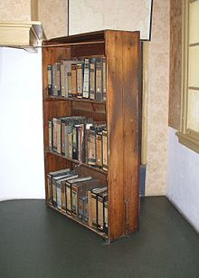 Reconstruction of the bookcase that covered the entrance to the Secret Annex, in the Anne Frank House in Amsterdam