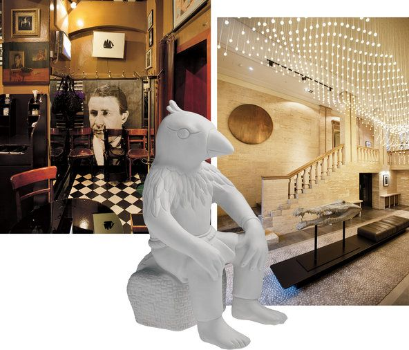 Berlin. From top left: the new 1920s-style coffeehouse Grosz; a porcelain figure from Stefanie Hering's shop at the Waldorf-Astoria; the lobby of the recently opened Das Stue Hotel.