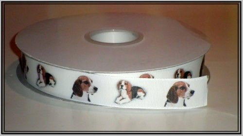 This listing is for 2 continuous yards of 7/8 wide white double faced satin/grosgrain ribbon (your choose, just memo which type youd prefer when checking out)  with beautiful beagle dogs printed on it
