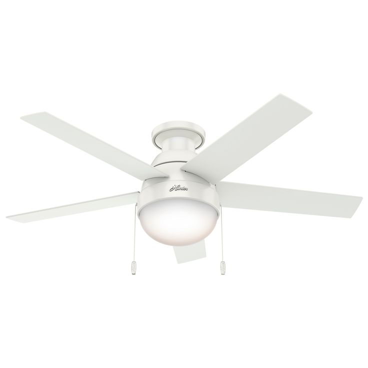 Modern Ceiling Fan with Light features a Matte Silver motor with reversible grey oak/ grey walnut blades, a Fresh White motor with natural wood blades, or a Premier Bronze motor with reversible american walnut/dark walnut blades - all with a White diffuser. Features a 46 inch blade span and 14 degree pitch. One 14 watt, 120 volt CF Medium base compact fluorescent bulb is included. Pull chain operation, one for light and one for fan, to work independently from each other. Limited lifetime…