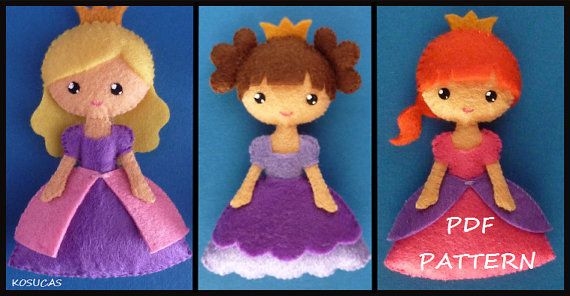 PDF sewing pattern to make a small felt princess.