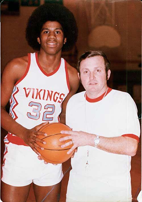 Magic and his high school coach George Fox