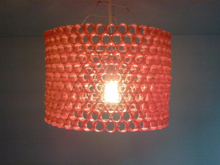 Homemade lamp made of red, corrugated pipe and steel wire. Thanks @Julita