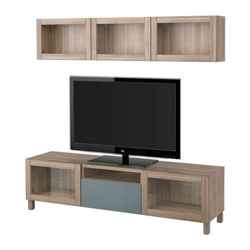 BESTÅ TV storage combination/glass doors - walnut effect light gray/Valviken gray-turquoise clear glass, drawer runner, soft-closing - IKEA