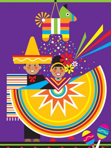 Traditional Mexican Cultural Celebration with Pinata and Folklorico  Photographic Print