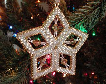 Handmade Beaded Star Ornament Swarovski Crystal Beads Peyote Stitch Christmas Gold/White