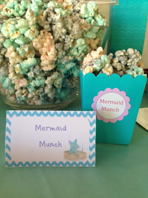Popcorn at a Under the Sea Party #underthesea #partypopcorn