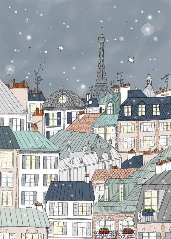 Affiche Paris, Tour Eiffel, Déco thème Paris, Illustration d'Amélie Biggs