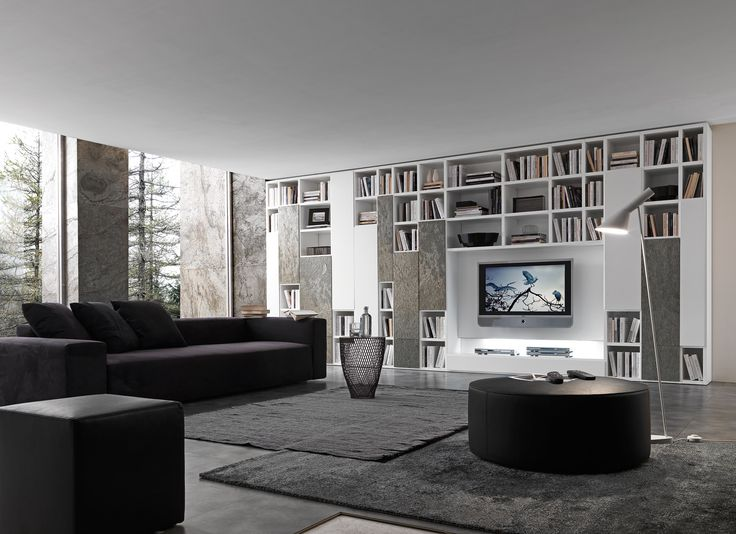 PRESOTTO | Pari & Dispari bookcase with matt bianco candido lacquered structure, 6 mm thick doors in bianco candido and Silver Shine stone. 6 mm thick, full extension, deep drawer in Silver Shine stone.__ Libreria Pari & Dispari con struttura laccato opaco bianco candido, ante Sp_6 laccato opaco bianco candido e pietra Silver Shine. Cassettone Sp_6 in pietra Silver Shine ad estrazione totale.