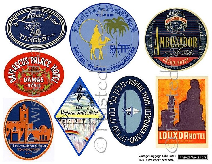 8 Large LUGGAGE STICKERS, Vintage Middle East Travel Luggage Labels and Stickers Printable Digital Instant Download Collage Sheet 011 by TwistedPapers on Etsy https://www.etsy.com/listing/185561313/8-large-luggage-stickers-vintage-middle