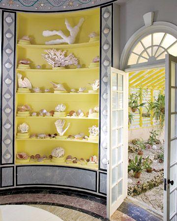 Yellow/Gray: Coastal Rooms, Idea, Beaches House, Built In, Nooks And Cranni, Color, Yellow Bookca, Interiors Design, Seashells