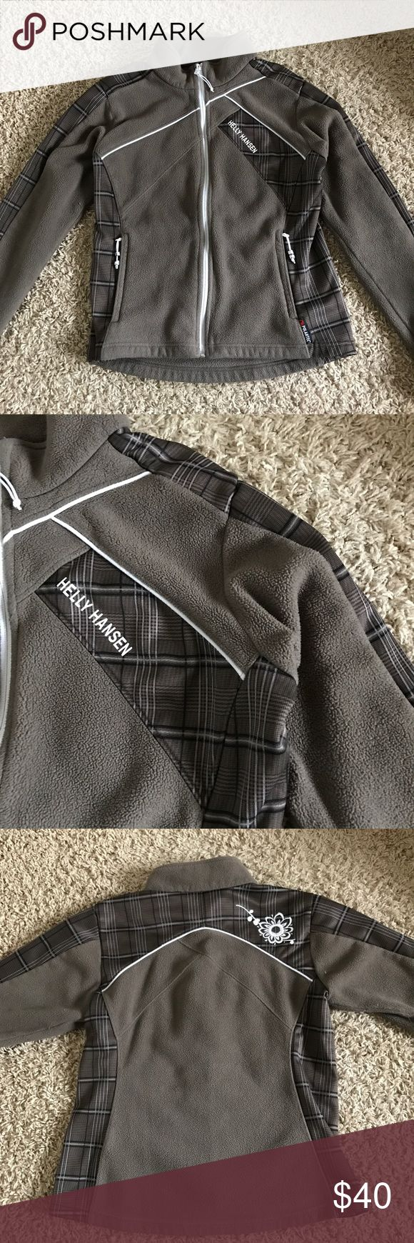 Helly Hansen Fleece Jacket -Only been worn a couple times -Fleece -Brown with plaid and floral accents -Zip up -Size medium Helly Hansen Jackets & Coats