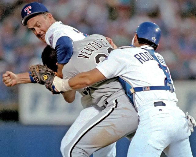 The White Sox hired Robin Ventura to be their new manager. Let's hope his tenure is more successful than this 1993 fight against Nolan Ryan in which Chicago's new skipper was punched six times by the 46-year old before teammates came to his rescue. (AP)  VIDEO: David Wells on White Sox decision to hire VenturaSI VAULT: It's a season of bench-clearing brawls (8.16.93)