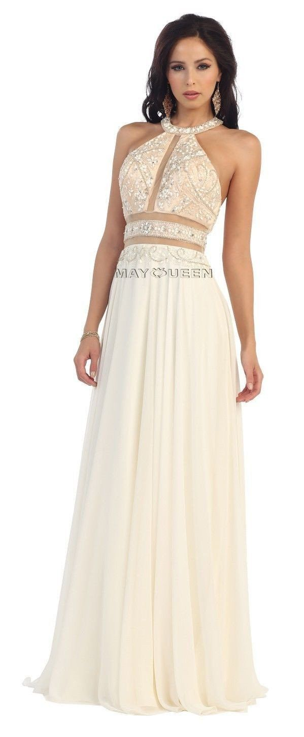 2016 Long Homecoming Dresses Two Piece Embellished Illusion Prom Dress