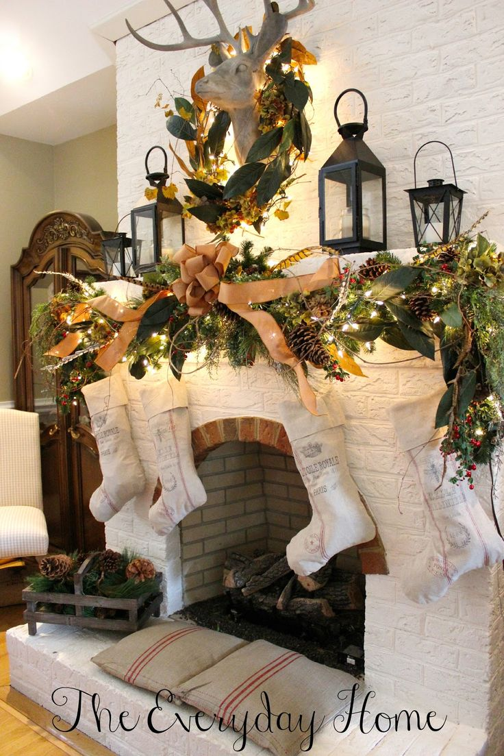 578 best christmas fireplaces mantles images on pinterest