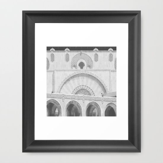 "FRAMED FINE ART PRINT/ BLACK MINI (12"" X 12"") Casablanca Morocco architecture mosque photography black and white travel soul wanderlust prayer by LaCatrina.it"