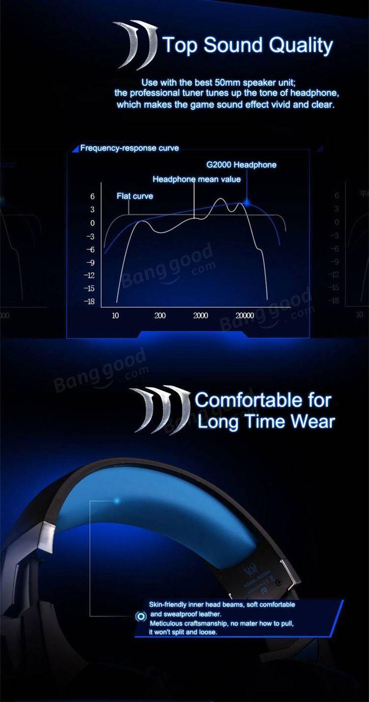 KOTION EACH G2000 Over Ear Stereo Bass Gaming Headphone Headset Earphone Headband with Mic LED Light Sale - Banggood.com