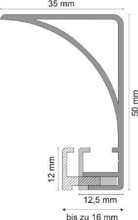 Aluprofil für Deckenbeleuchtung - 50 mm hoch - Eloxiert oder Weiß - eckig