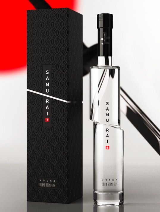 Samurai  Technical : This bottle has a sophisticated but mere design. It looks like a bottle cut in half by a katana.  Communication : The bottle and packaging reflect extremely well the brand name. Container : The slender bottle is in transparent glass cut in half with a black cork. The packaging is a flat rectangle.	 Decoration : There is no decoration, only the brand name and logo on the bottle and on the packaging. There is only 3 colors, black, white/transparent and a touch of red.