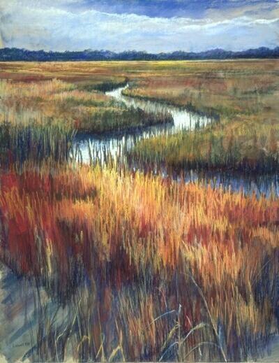 Junko Ono Rothwell:  Coastal Marsh, Pastel, 27 x 21.jpg