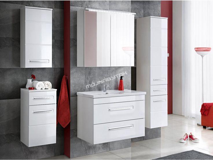 Moderná kúpelňa Active je modernom dizajne v bielej farbe s bielym leskom.
