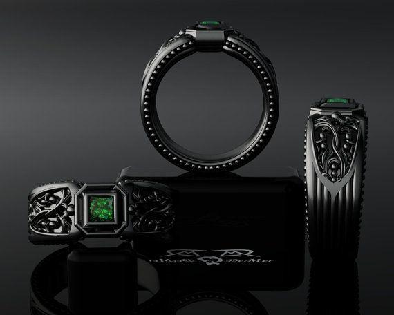 Natural Emerald 14kt Black Gold Men's Gents Band Ring. Mangagement commitment mans engagement art deco diamond sapphire Edgar Allen Poe. on Etsy, $5,269.30 CAD