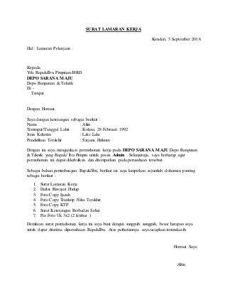Contoh Surat Lamaran Kerja Lamaran Kerja Surat Curriculum Vitae