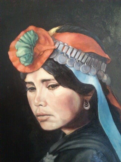 """Mujer mapuche"" oleo sobre madera .de felipe valenzuela"