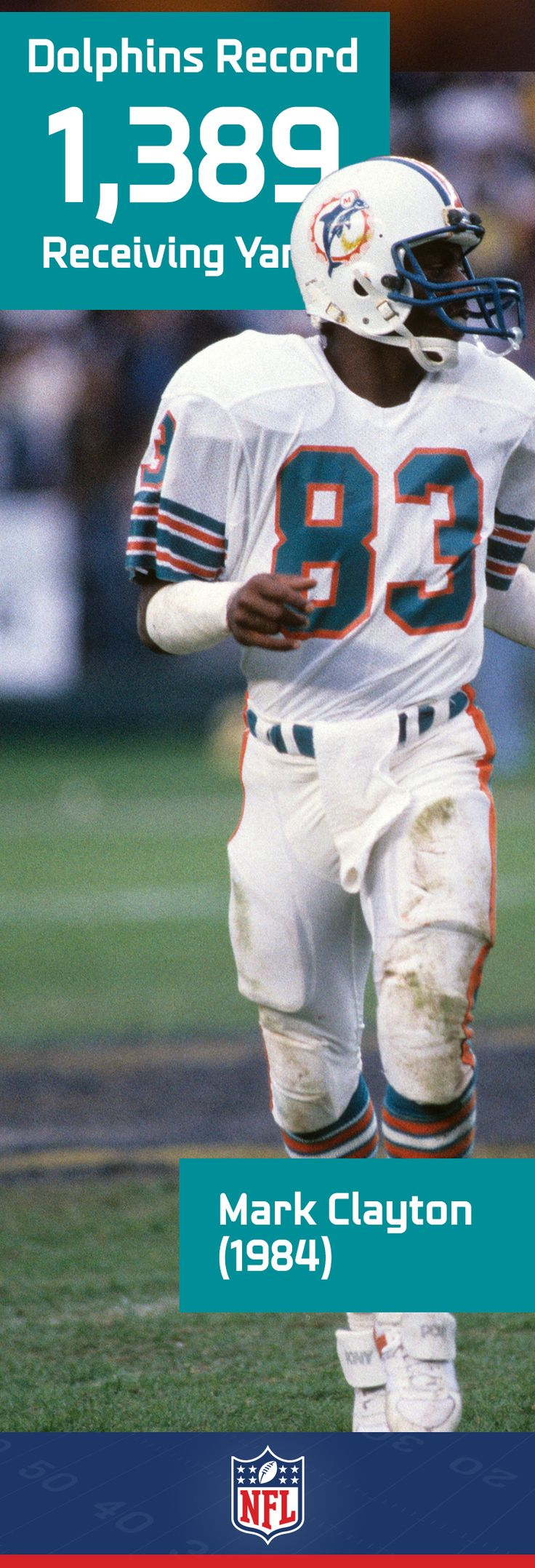 Flashback to 1984 when Dan Marino's favorite WR, Mark Clayton, set the Miami Dolphins receiving yards record. https://www.fanprint.com/licenses/miami-dolphins?ref=5750