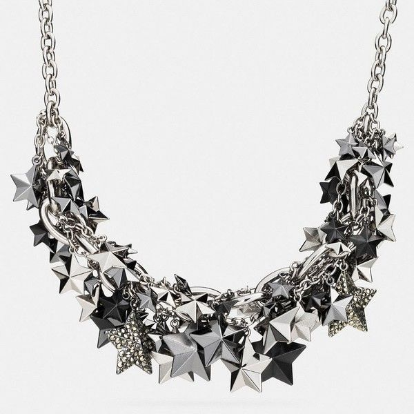 Coach Pave Clustered Metal Stars Necklace ($228) ❤ liked on Polyvore featuring jewelry, necklaces, neck, silver, coach necklace, metal bib necklace, cluster bib necklace, american jewelry and metal jewelry