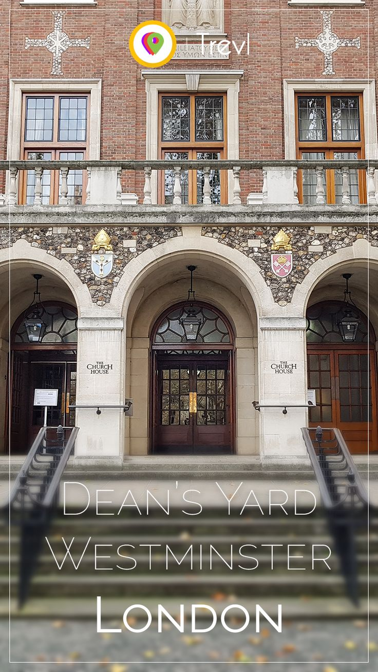 The massive entrance of the Church House at the Dean's Yard at Westminster Abbey in London, United Kingdom.