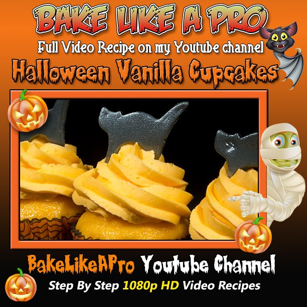 Halloween cupcakes recipe ! Please SUBSCRIBE: ► http://bit.ly/1ucapVH  A delicious vanilla cupcake with a Halloween theme.  The frosting is my variation of a Wilton buttercream recipe ( you can find that video recipe on my channel )  Please subscribe, like and share if you can, I do appreciate it.  My Facebook Page: http://www.facebook.com/BakeLikeAPro My Twitter: http://twitter.com/BakeLikeAPro  Please subscribe, like and share if you can, I do appreciate it. ► http://bit.ly/1ucapVH