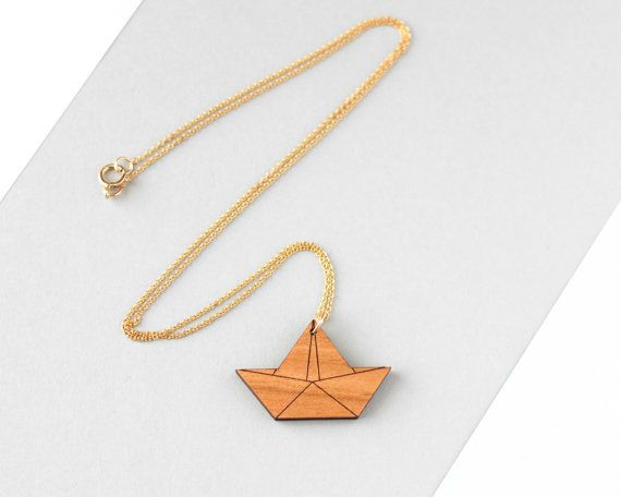 Wooden Origami Boat Necklace  Modern Handmade by FawnAndRose