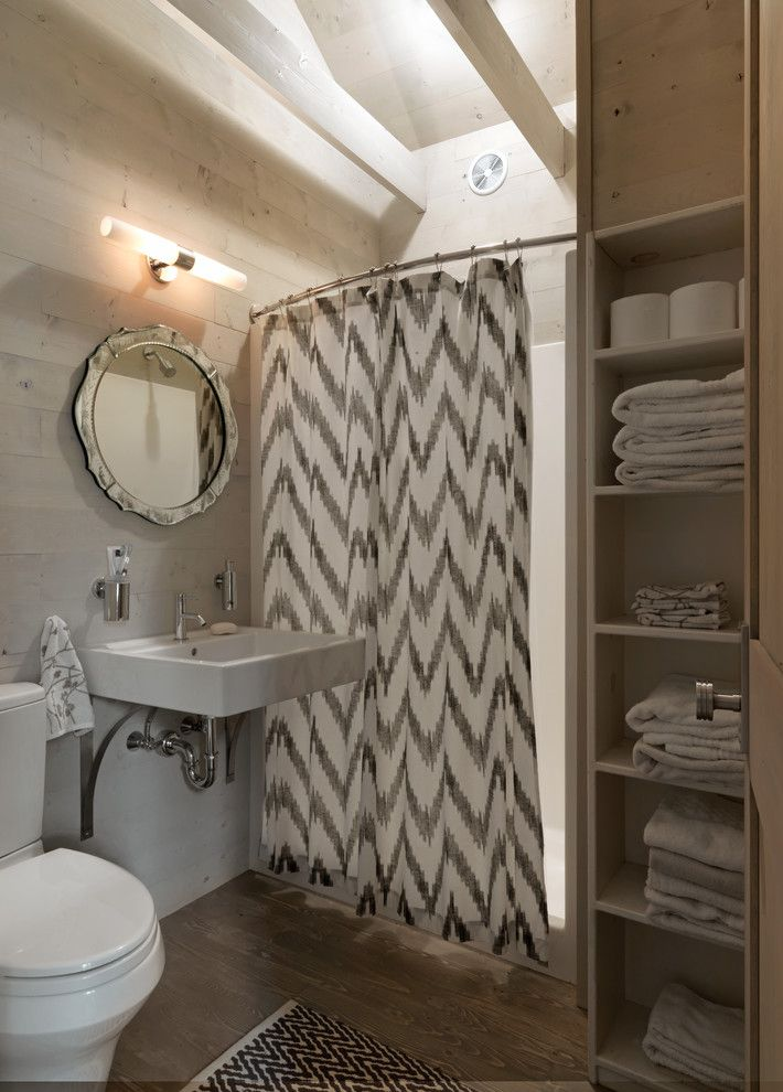 chic ikat curtains in bathroom rustic with hide storage with curtains next to closet curtain alongside