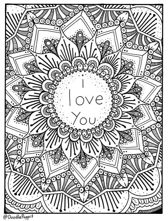 i love you coloring page coloring book pages printable adult coloring hand drawn doodle words art therapy instant download print